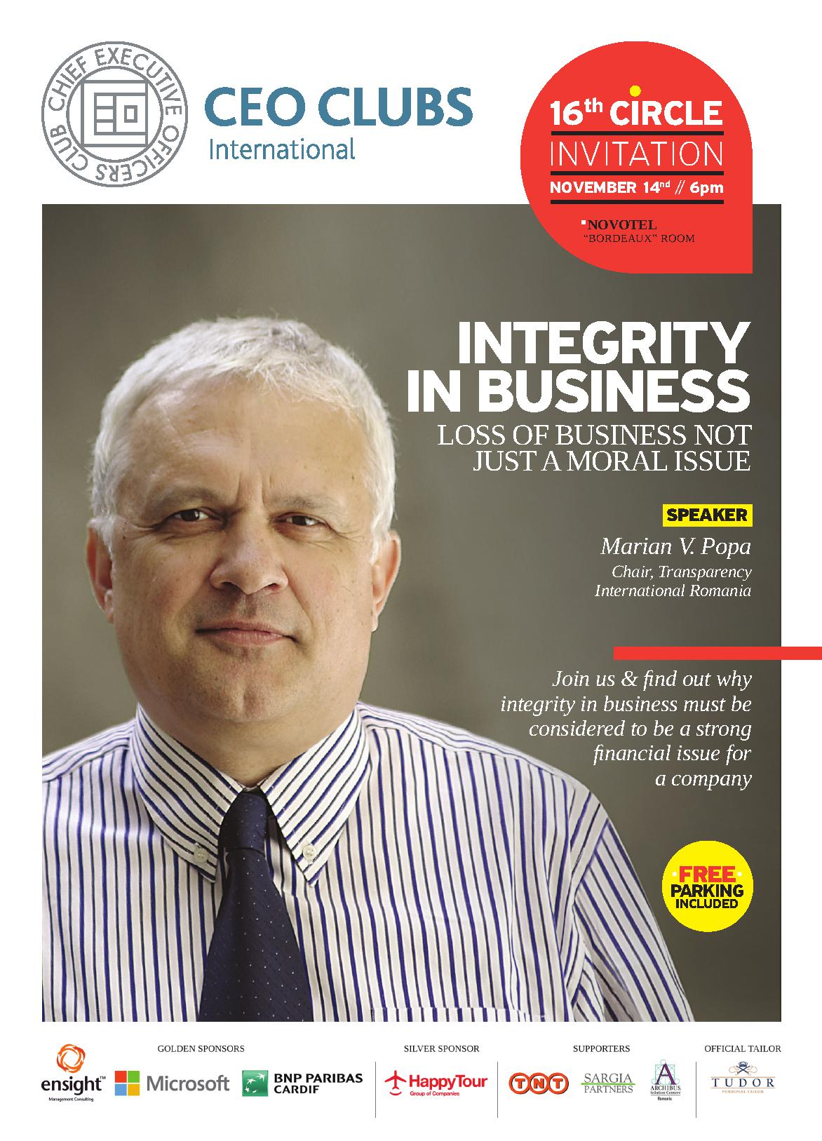 16th Circle: Integrity in business: Loss of Business not just a Moral Issue