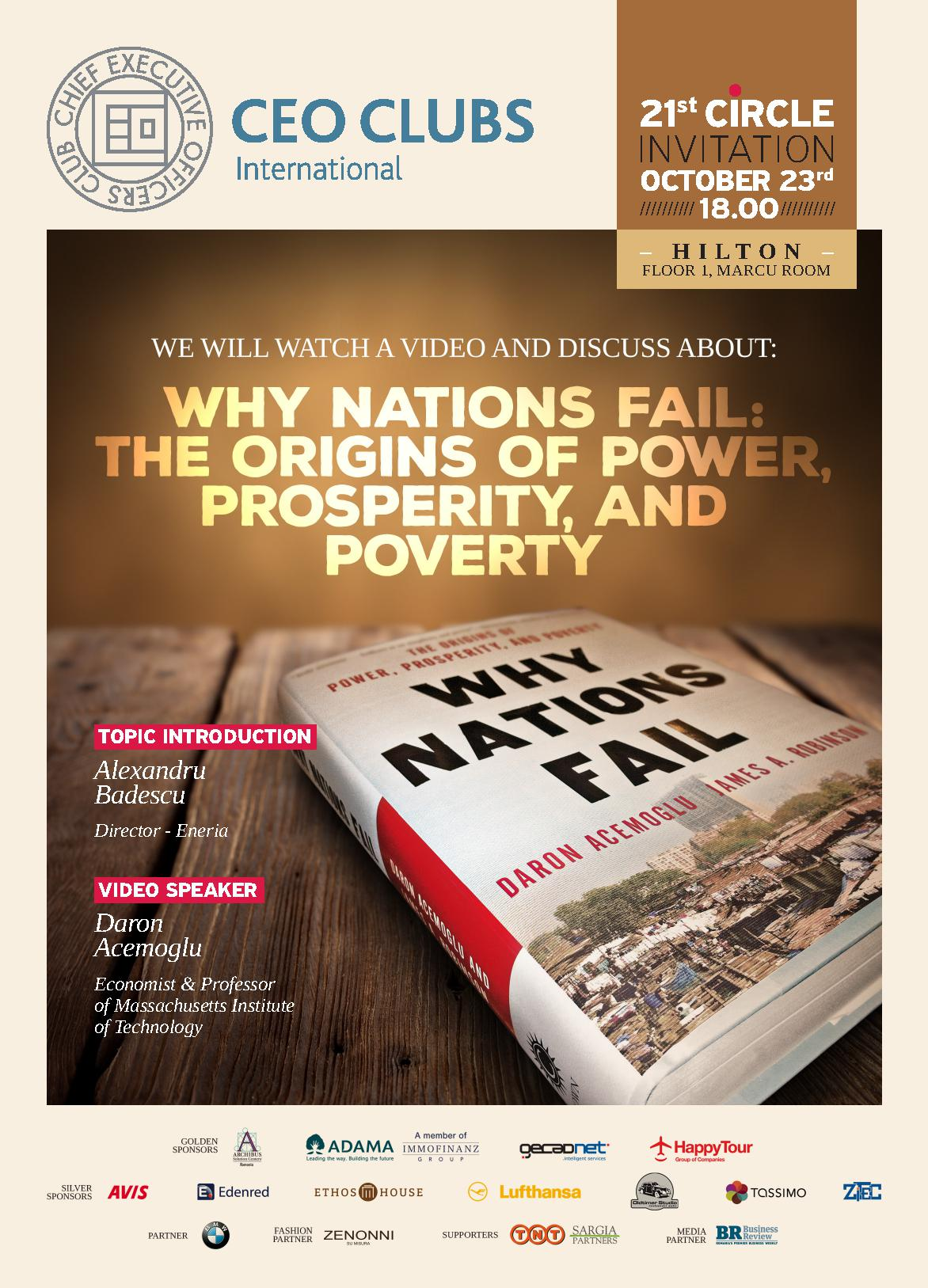 21st Circle: Why Nations Fail: The origins of Power, Prosperity and Poverty