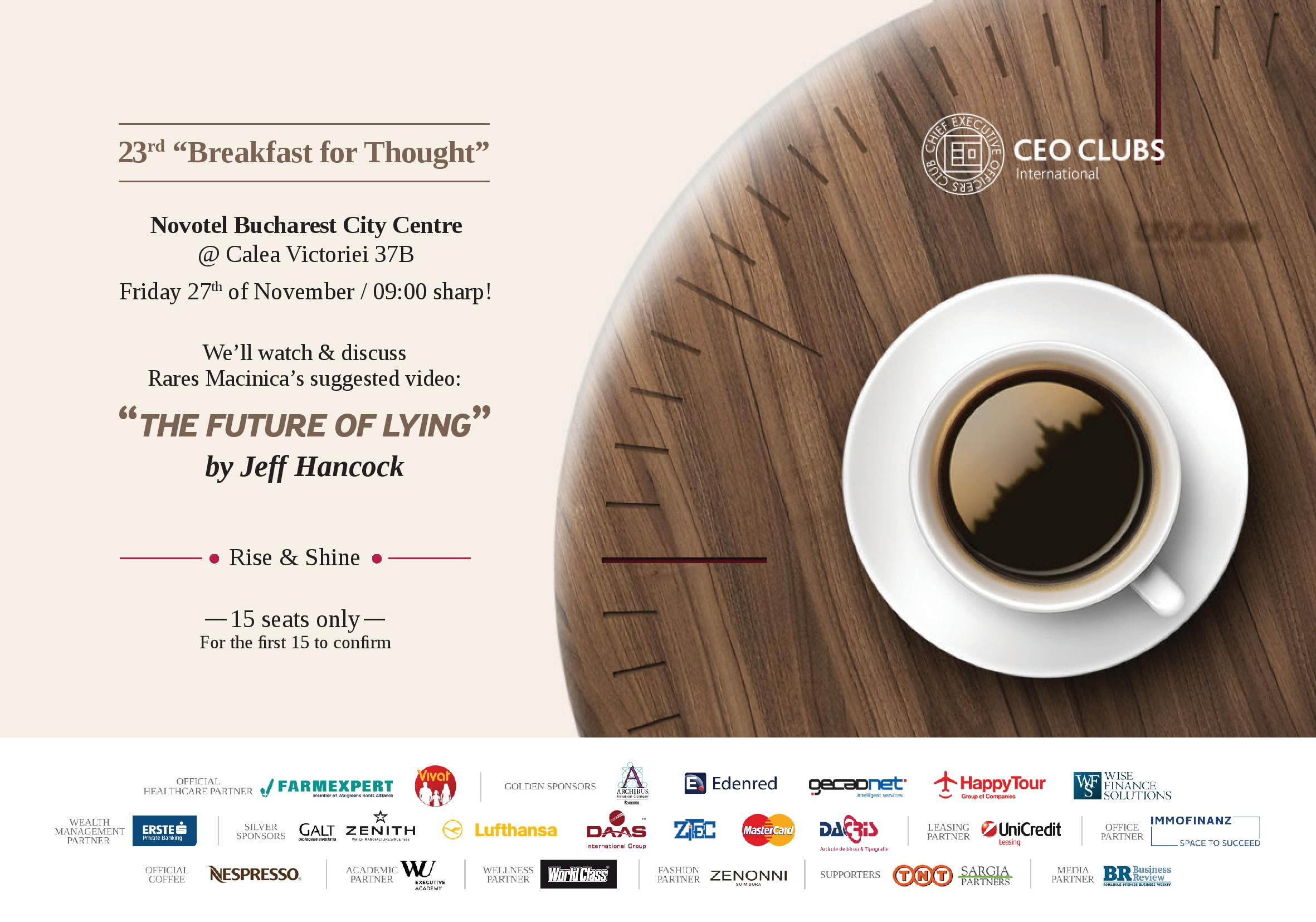"23rd Breakfast for Thought: ""The future of lying"""