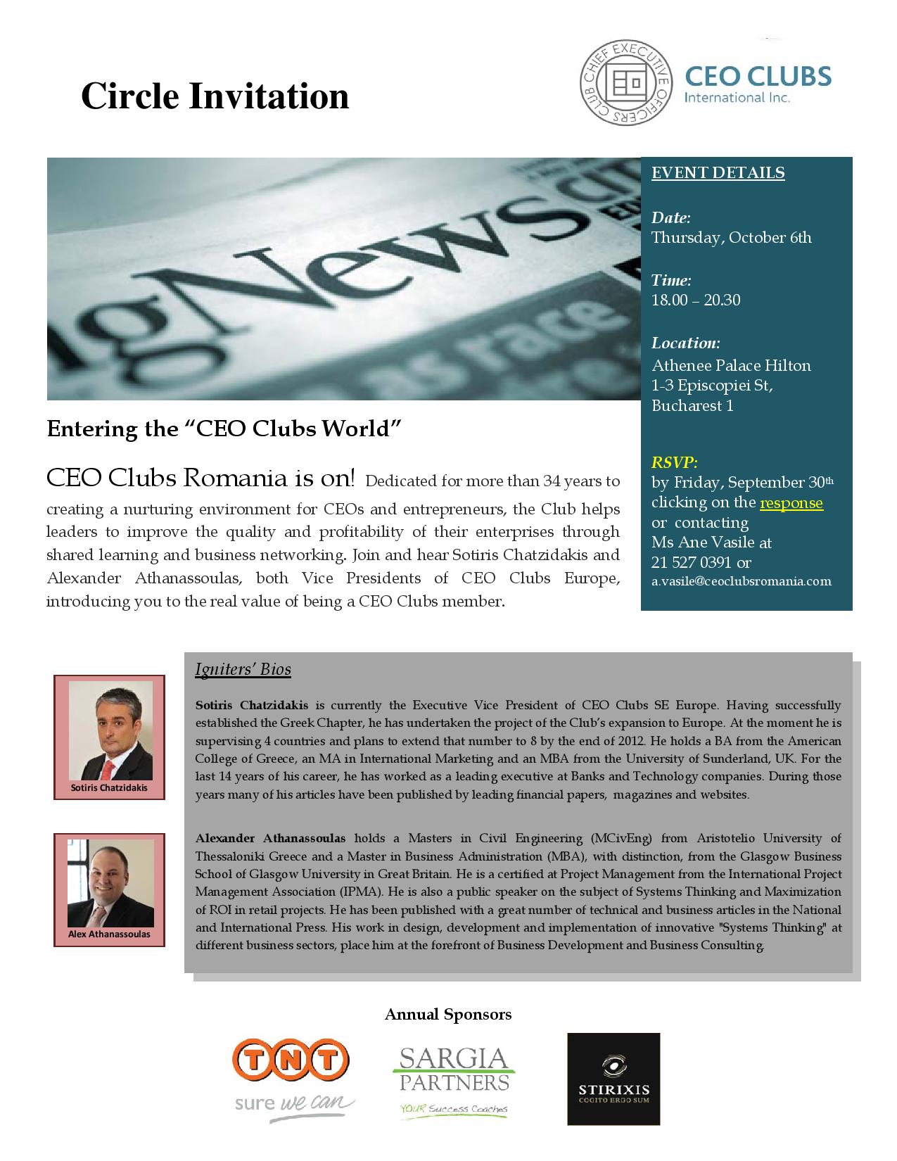 "1st Circle: Entering the ""CEO Clubs World"""